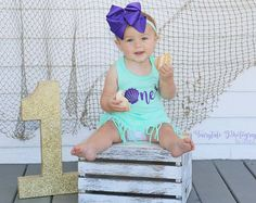 Mermaid Birthday Outfit, First Birthday Outfit, Mermaid 1st Birthday, Personalized Bloomer, Girls 1st Birthday, Mermaid Party, Fringe Dress