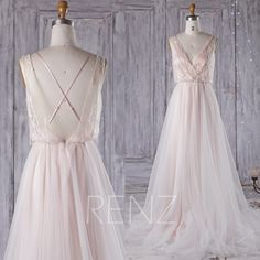 2016 Peach Mesh Wedding Dress Long, V Neck Bridesmaid Dress, Backless Lace Ball Gown, Spaghetti Straps Prom Dress Floor Length (HW301)