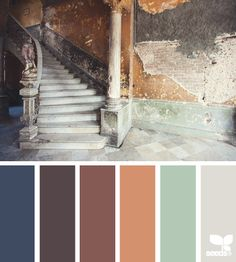 color decay - color palette from Design Seeds Scheme Color, Colour Pallette, Colour Schemes, Color Combos, Color Patterns, Rustic Color Schemes, Design Seeds, Green Design, Design Color