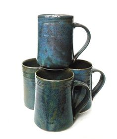 Set of 4- 16 oz Handmade Ceramic Mug -- Twilight (Blue and Purple) -- Hand crafted pottery-- Large hand thrown coffee, cocoa mug.