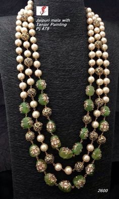 Mala Available at Ankh Jewels for booking msg on Emerald Jewelry, Pearl Jewelry, Pendant Jewelry, Jewelery, Gold Jewellery Design, Bead Jewellery, Beaded Jewelry, Silver Jewellery, Beaded Earrings