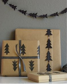 Make a DIY stamp for custom wrapping paper and ribbon.   9 Gift-Wrapping Techniques To Make Your Holidays Extra Fancy