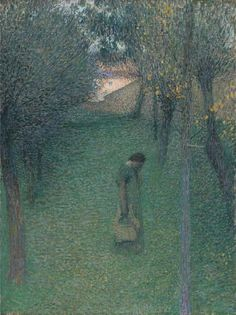 Pensive muse in the garden, 1894, Henri Martin. French Post-Impressionist Painter (1860 - 1943)