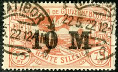 Upper Silesia  1922 Scott 46 10m on 75pf red Type of 1920 and Surcharged