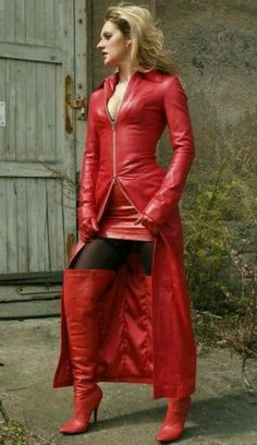Red Leather Skirt, Long Leather Coat, Leather Dresses, Leather Jacket, Lambskin Leather, Leder Outfits, Dress Plus Size, Red Boots, High Boots