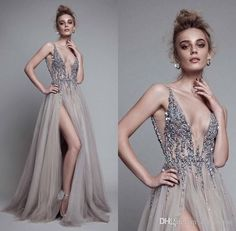 Sexy Side Split Prom Dresses, Rhinestones Beaded Evening Dress ,2017 Deep V Neck Backless ,Grey Tulle A Line ,Hot Party Gowns Floor Length