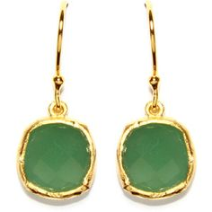 Gold Plated Sterling Silver Square Green Chalcedony Quartz Drop Earrings