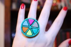 Items similar to Something Trivial Ring in Blue/Green on Etsy Upcycled Crafts, Repurposed, Jewellery Diy, Unique Jewelry, Trivial Pursuit, Upcycling Projects, Vintage Games, Diy Clothing, Blue Green