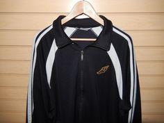 VTG Nike Track Jacket Winged Shoe Pegasus Logo Large Full Zip Black Yellow Grey #Nike #CoatsJackets