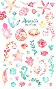 Underwater world by StarJam on Creative Market - - Mermaids & Friends. Underwater world by StarJam on Creative Market - Art Aquarelle, Watercolor Paintings, Clip Art, Mermaid Art, Watercolor Mermaid, Underwater World, Underwater Drawing, Art Mural, Cute Drawings