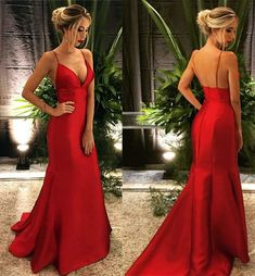 Prom Dresses Simple, Fashion V Neck Red Prom Dresses Sexy Evening Dresses, A long dress makes an elegant statement at any formal event whether it is prom, a formal dance, or wedding. Sexy Evening Dress, Formal Evening Dresses, Formal Gowns, Red Evening Gowns, Red Gowns, Formal Wear, Mermaid Prom Dresses, Homecoming Dresses, Graduation Dresses