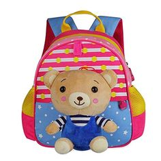 Cute Animals Shape Childrens Backpack For School Hiking Camping Bear Pink ** For more information, visit image link.(This is an Amazon affiliate link and I receive a commission for the sales)