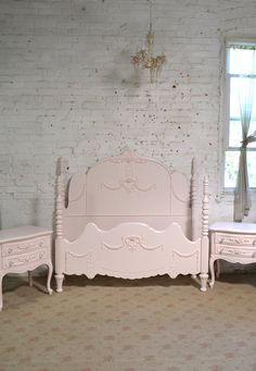d9da8b6024c1 Painted Cottage Chic Shabby Romantic French One of a Kind Bed BD833