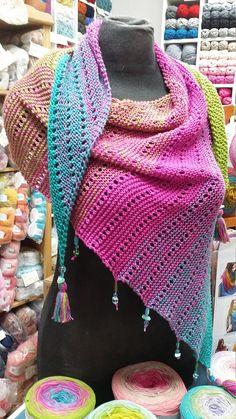 Ce patron contient toutes les explications nécessaires à la Point Mousse, Lana, Knit Crochet, Knitting, Spring, How To Make, Handmade, Parfait, Scarfs