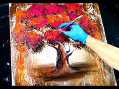 Abstract painting - magenta orange tree - wood grain tool and round brush techniques - YouTube