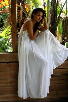 "Grecian Goddess Bridal Nightgown Wedding Lingerie White Nylon 246"" Full Sweep Angelic Honeymoon Gown. $95,00, via Etsy."