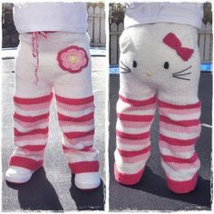 Etsy seller Mazter has created a knitting pattern for these teeth-achingly cute Hello Kitty toddler trousers and is accepting pre-sales. Knitting pattern - Kitty pants (via Craft) Crochet Pants, Knit Pants, Crochet Baby, Knit Crochet, Free Crochet, Knitting For Kids, Baby Knitting Patterns, Knitting Projects, Toddler Pants