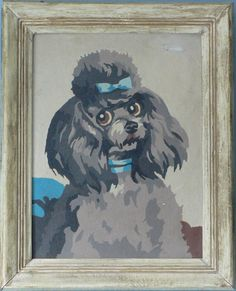 Fabulous Framed Paint-By-Number PBN Poodle Portrait Painting Pink Poodle, Silver Poodle, French Poodles, Standard Poodles, Paint By Number Vintage, Number Art, Pastel Grunge, Pet Portraits, I Love Dogs