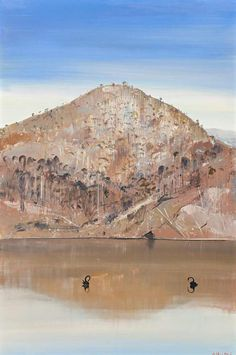 """Arthur Boyd (Australian, Reflected Hill, Shoalhaven, Oil on composition board, 91 x 61 cm. Australian Painting, Australian Artists, Landscape Art, Landscape Paintings, Landscapes, Fred Williams, Arthur Boyd, Painter Artist, Impressionist"