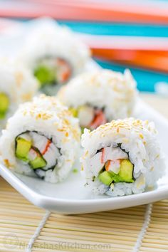 How to make an easy California Roll and perfect sushi rice. Step-by-step photo tutorial for homemade California Rolls (includes a spicy mayo recipe!)