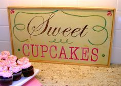 sweet cupcakes sign