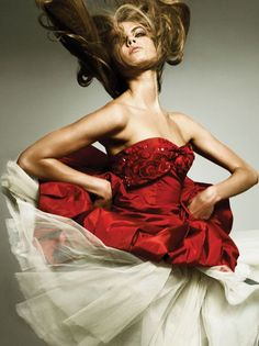 Morning Beauty | Maryna Linchuk by Alexi Lubomirski - Vogue Germany - October 2006 - red and white dress
