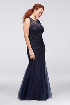Ornate filigree appliques and a stunning, flared-tulle skirt make this plus-size illusion tank gown a sophisticated choice. By Cachet Polyester Back zipper; fully lined Spot clean Imported Also