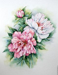 """Купить Рисунок """"Бело-розовые пионы"""" акварель - пионы, акварель, бело-розовые пионы"""