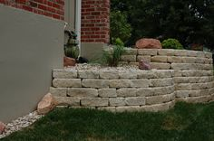 "3.5"" drystack retaining walls #TopekaLandscape"
