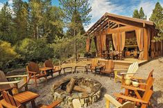 Resort at Paws Up at Greenough, Montana Tagged: Outdoor, Trees, and Woodland. Photo 6 of 12 in 12 Epic Hotels That Take Glamping to the Next Level from Resort at Paws Up. Browse inspirational photos of modern outdoor spaces. Luxury Tents, Luxury Camping, Luxury Lodges, Camping Con Glamour, Outdoor Pavillion, Gazebo, Fire Pit With Rocks, Fire Pit Party, Fire Pit Lighting