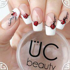 ♥️French manicure with ÜC stamping plate from . 🌹Френч с розой. Spring Nails, Summer Nails, Really Cute Nails, Shellac Nail Art, Nail Polish, Maroon Nails, Watermelon Nails, Christmas Nail Art, Cute Nail Designs