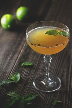 Old Cuban: aged rum, lime, simple syrup, Angostura bitters, sparkling wine, mint