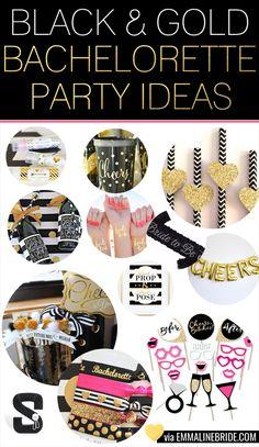 Fun Black & Gold Bachelorette Party Ideas | http://emmalinebride.com/bachelorette/black-and-gold-bachelorette-party/