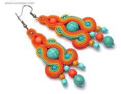 Sun Isis midi Soutache earrings Turquoise earrings Boho earrings Egyptian style Colorful jewelry Best gift for woman Soutache Earrings, Clay Earrings, Boho Earrings, Etsy Jewelry, Jewelry Art, Anna, Polymer Clay Charms, Turquoise Earrings, Gifts For Women