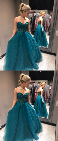 Charming sweetheart party dress, tulle long prom dress,