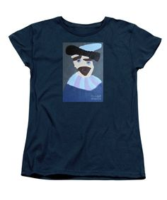 Patrick Francis Women's Navy Designer T-Shirt featuring the painting Young Rembrandt In A Plumed Hat 2014 - After Rembrandt by Patrick Francis