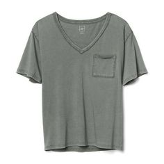 Gap Women V Neck Pocket Tee ($20) ❤ liked on Polyvore featuring tops, t-shirts, tall, vintage palm, tall tees, short sleeve tee, gap t shirts, pocket tees and v-neck tee