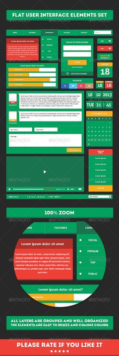Flat User Interface Elements Set - User Interfaces Web Elements