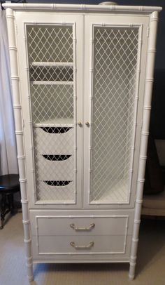 Thomasville Faux Bamboo Armoire Newly Lacquered. Armoire Is In As Found  Vintage Condition. Original