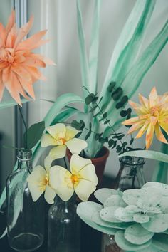 Dahlia, euciliptus, succulent and all other plants made from hand painted paper by Lora Avedian Photographed by India Hobson All rights reserved Lora Avedian if sharing this image please credit &...