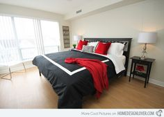 Bedroom Ideas Red Black And White more red, black and white! striking! want to see more? www