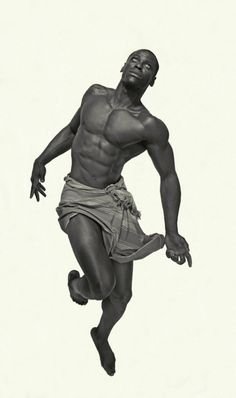 Figure drawing pose reference - Mid-jump or ascending / floating pose