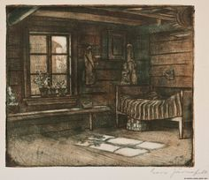 Corner of a Farmouse Interior by Eero Järnefelt, Soft ground etching Old Paintings, Paintings For Sale, Bukowski, Art For Sale, Finland, Art History, Auction, Fine Art, Corner