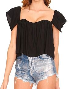 +Off shoulder open back overlay with built in bodice crop top