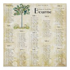Vintage Fruit Tree  Seating Chart print. This with spring apple tree.