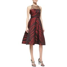 Pamella Roland Sleeveless Animal-Print Midi Dress ($1,105) ❤ liked on Polyvore featuring dresses, sleeveless a line dress, red a line dress, open back midi dress, red sleeveless dress and mid calf dresses