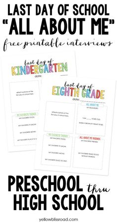 Last Day of School All About Me Free Printable Interviews