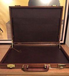 Vintage ATTACHE Wood Wooden Briefcase Business Case Laptop Leather Lined Keys