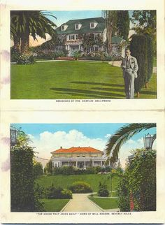 Homes Of Silent Film Actors Sydney Chaplin And Will Rogers Golden Age Hollywood Vintage