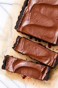 Dark Chocolate & Tart Cherry Truffle Tart with a mousse-like chocolate ganache filling. You HAVE to make this. Like, NOW.